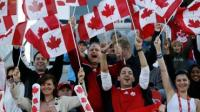 supporters canadiens drapeaux canada